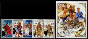 HERRICKSTAMP GHANA Sc.# 939-44 Dancers Imperf Set & S/S