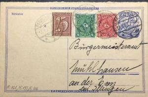 ALLEMAGNE / DEUTSCHLAND 13.1.1923 Mi.161, 193, 206 auf Mi.P147F aus PFORZHEIM