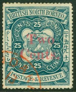EDW1949SELL : NORTH BORNEO 1890 Scott #50 VF, Used with Scarce cancel Cat $100++