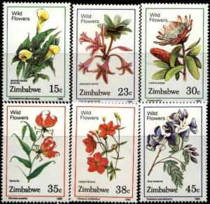 6 Various Wildflowers, Zimbabwe stamp SC#582-587 MNH set