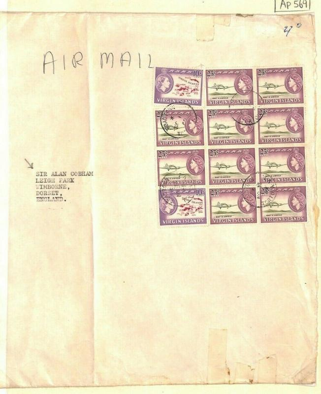 BRITISH VIRGIN ISLANDS Cover Air Mail Pictorials Block Franking 1969 Ap569