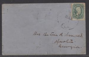 **CSA Cover, SC# 11, Lake City, FL Tied by Black CDS, 3/1/1863, 4