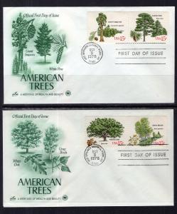 US 1764-1767 Trees PCS Artcraft Variety Set of Two U/A FDCs
