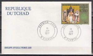 Chad, Scott cat. 328. Queen Elizabeth`s issue on a First Day Cover.