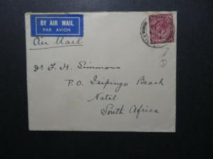 Great Britain 1935 Airmail Cover to Natal - Z12523