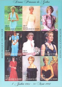 Niger IMPERF. 1997 Princess Diana Royal Family 9v Mint Full Sheet. (L-118)