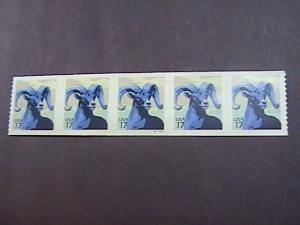 U.S.# 4140-MINT/NH-PLATE # COIL STRIP OF 5(S#111111)--BIGHORN SHEEP--2007