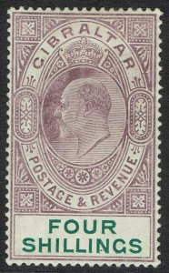 GIBRALTAR 1904 KEVII 4/- WMK MULTI CROWN CA