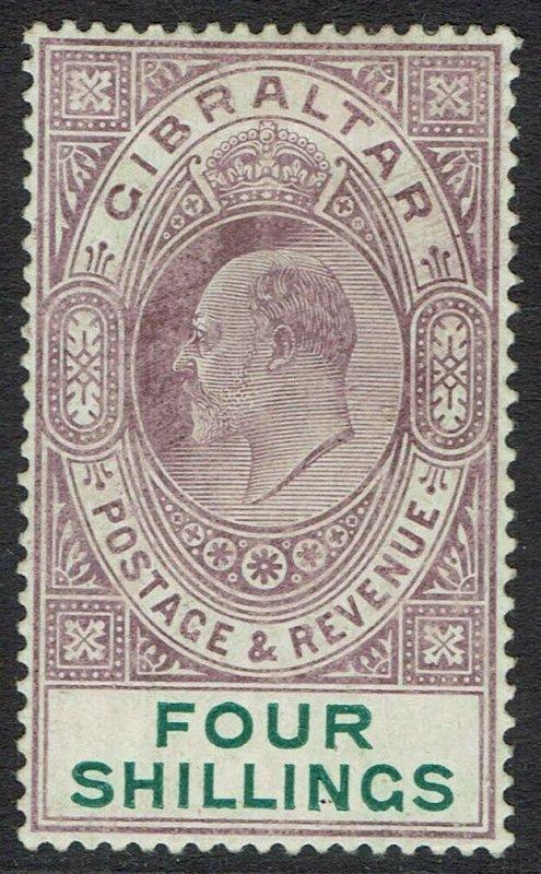 GIBRALTAR 1904 KEVII 4/- WMK MULTI CROWN CA