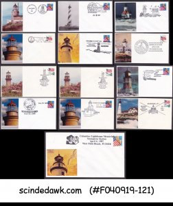 UNITED STATES USA 1990-1997 SPECIAL LIGHTHOUSE COVERS WITH SP. CANCL. 13nos