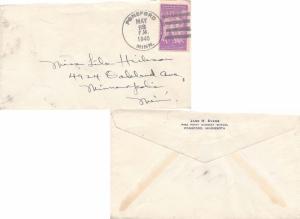 United States Minnesota Ponsford 1940 4f-bar  Reverse blue corner card Jane H...