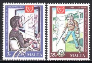 Malta - 1981 International Year for Disabled Persons Set MNH** SG 663-664
