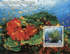 Mozambique 2002 MNH Coral Corals Fish Fishes 1v M/S Marine Stamps