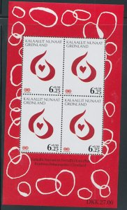 Greenland Sc B34a 2009 Cancer Society stamp sheet mint NH