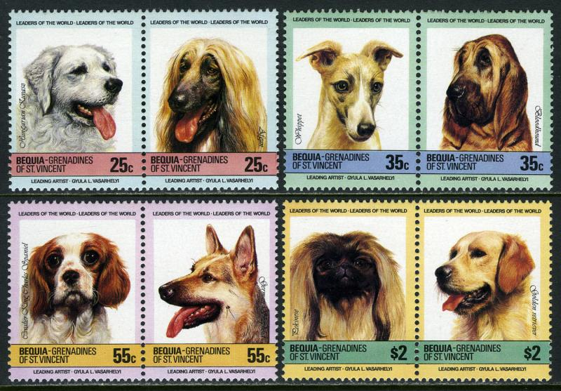 St. Vincent Bequia MNH 178-81 Pairs Dogs 1985