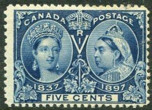 CANADA-1897 Jubilee 5c Deep Blue Sg 128 MOUNTED MINT V49487