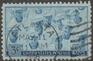 USA stamp, Scott#935, USED, Navy, saliors, long stamp, sky blue, #MAO49