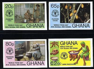 GHANA SCOTT# 765-8 WORLD FOOD DAY 1981 IMPERF SET MNH