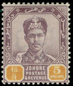 MALAYSIA - Johore SG53, $5 dull purple & yellow, NH MINT. Cat £100.