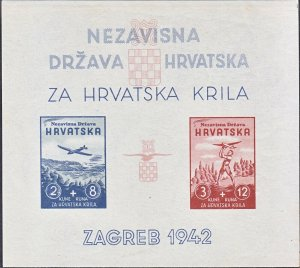 Stamp Croatia Sc B12 Sheet 1942 WWII 3r Reich Germany Airmail Airplane Imper MNH