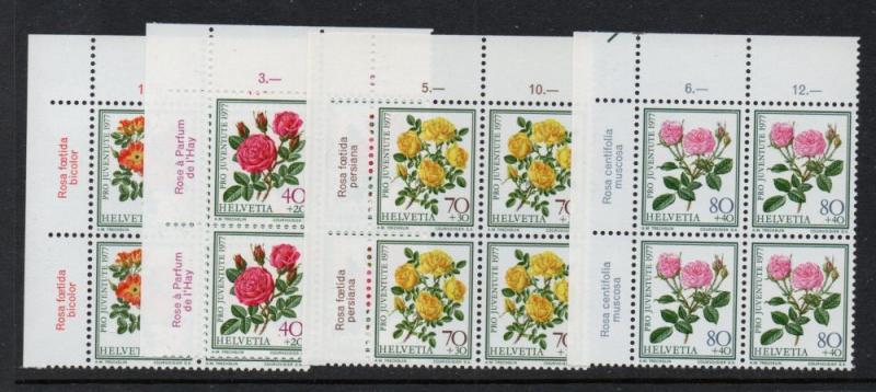 Switzerland Sc B451-54 1977 Roses Pro Juventute stamp set mint NH Blocks of 4