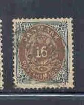 Denmark  Sc 30 1875 16 ore  slate & brown stamp used