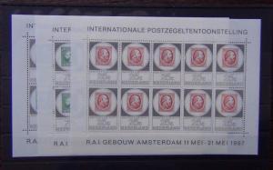 Netherlands 1967 Amphilex 67 Stamp Exhibition Miniature Sheets x 3 MNH