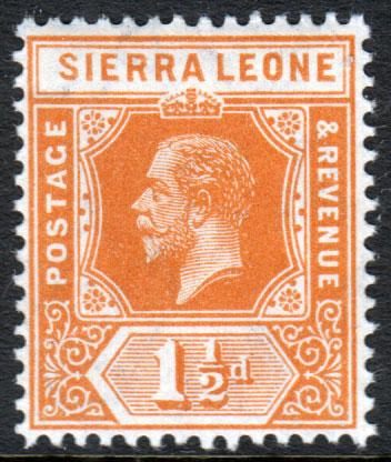 Sierra Leone KGV 1912 1.5d Orange SG114 Mint Lightly Hinged