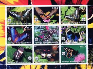 Congo 2002 Butterflies/Scouts  Shlt (9)+ 2 SS Perforated MNH