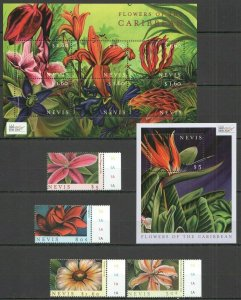 U1113 2000 NEVIS FLOWERS OF THE CARIBBEAN FLORA !!! 1KB+1BL+1SET FIX