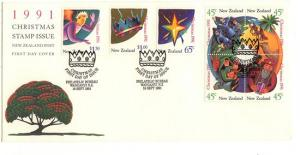 New Zealand - Scott #1061a-1064 Christmas 1991 First Day Cover