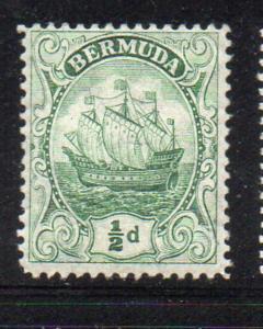 Bermuda Sc 41 1910 1/2d yellow green Caravel stamp mint