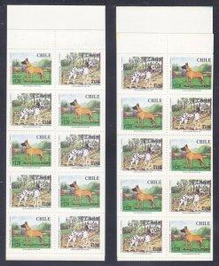 Chile 1232b & 1234b (1231-34) MNH 1998 Great Dane & Dalmatian Complete Booklets
