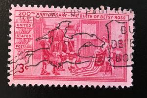 1004 Betsy Ross, Circulated Single, NH, Paul Revere Cancel, Vic's Stamp Stash