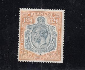 BERMUDA  # 97 VF-USED 12sh6p  KING GEORGE V /OCHRE & GRAY BLACK CAT VALUE $425