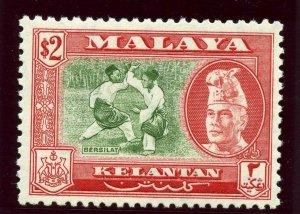 Malaya- Kelantan 1957 $2 bronze-green & scarlet (perf 12½) MNH. SG 93. Sc 81a.