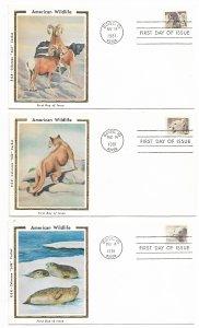 US 1880-1889 18c Wildlife Set 10 FDCs Colorano Silk Cachet Varities ECV$125.00