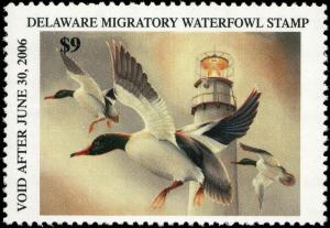 DELAWARE #26 2005 STATE DUCK MERGANSER / LIGHTHOUSE by Joanna Rivera