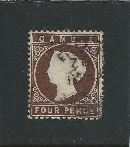 GAMBIA 1880-81 4d BROWN CROWN TO LEFT GU SG 15Aw CAT £65