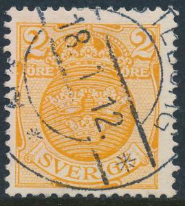 Sweden Scott 68 (Fa 69), 2ö orange Arms wmk CROWN, FVF Used