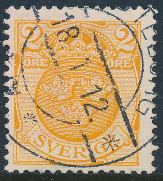 Sweden Scott 68 (Fa 69), 2ö orange Arms wmk CROWN, FVF Used
