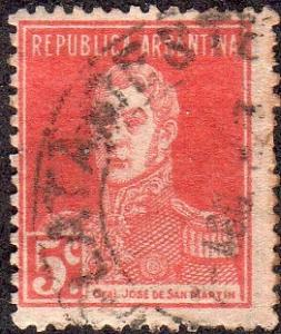 Argentina 328 - Used - 5c Gen. Jose de San Martin (1923) (cv $0.30) (2)