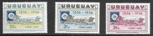 Uruguay  (1956)  - Scott # C173 - C175,  MNH