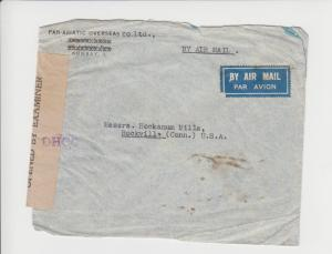 INDIA 1944 AIRMAIL CENSOR COVER TO USA, 2Rs11½a RATE (SEE BELOW)