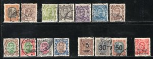 Iceland 1902-25 Christian Types 15 Used Stamps Including Surcharges CV$250