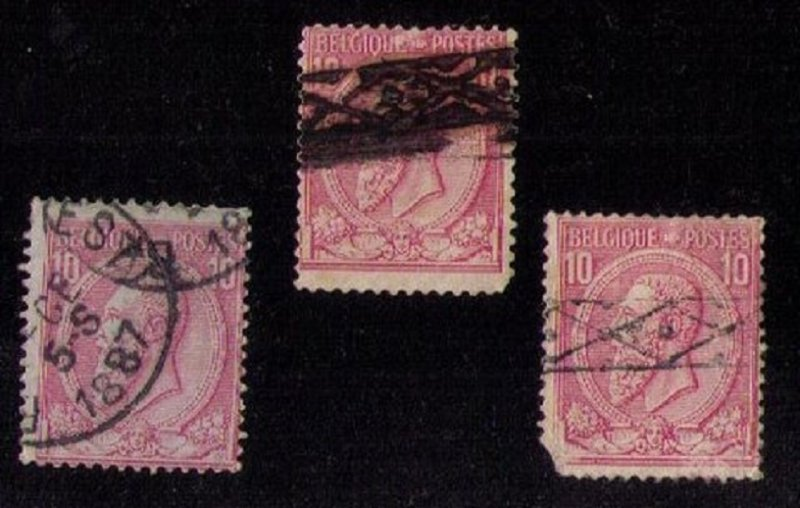 BELGIUM Sc 52/52(a)(c) x 3 each Used (Color Shades)Blu,Gray,Ylw Paper F-VF