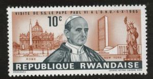 RWANDA Scott 147 MH* Pope stamp