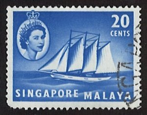 1955 Singapore Queen Elizabeth II Ships and Other Images 20c (LL-51)