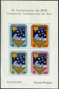 Paraguay 605-C303,609a,C303a imperf,MNH.South American Tennis Championships,1961