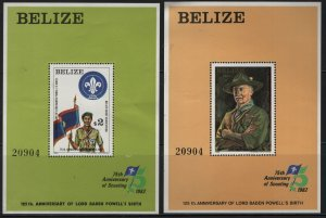 BELIZE  644-645, SOUVENIR SHEET, HINGED ,1982 Scouting 75th anniv.